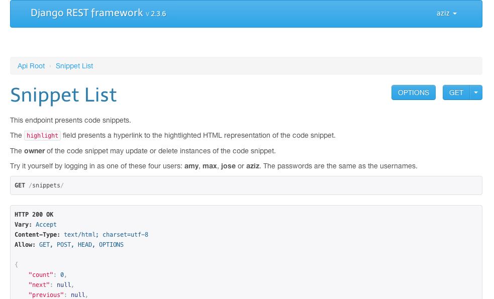The browsable api django rest framework cerulean theme malvernweather Choice Image