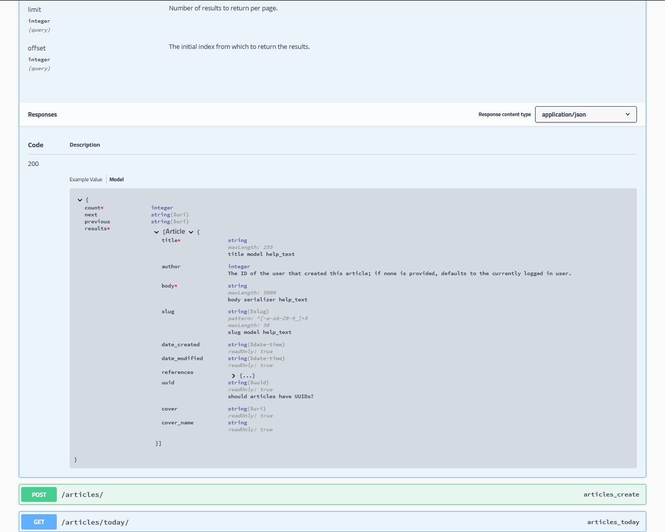Documenting your api django rest framework screenshot drf yasg malvernweather Choice Image