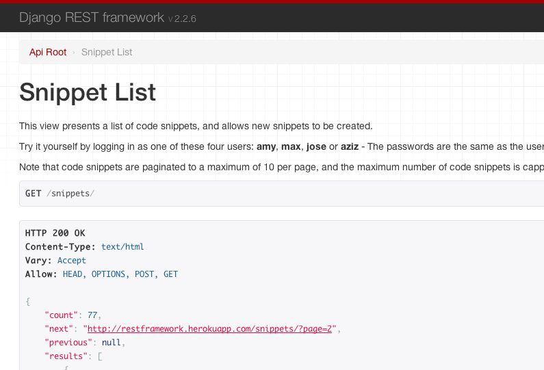 Documenting your api django rest framework screenshot self describing api malvernweather Choice Image
